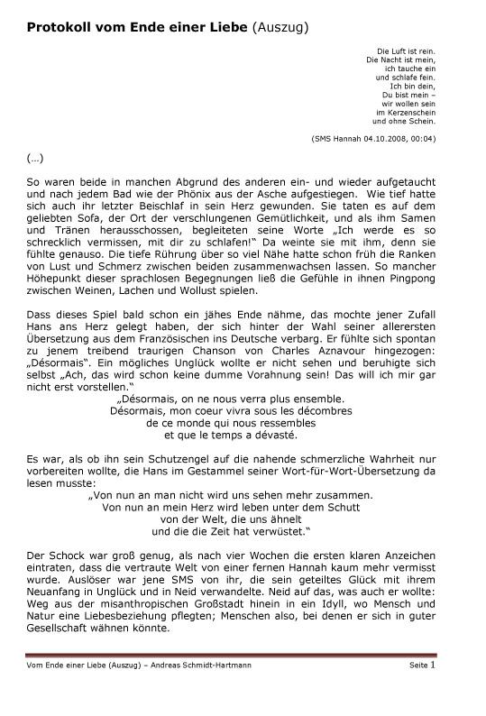 Microsoft Word - Protokoll vom Ende einer Liebe _Auszug_